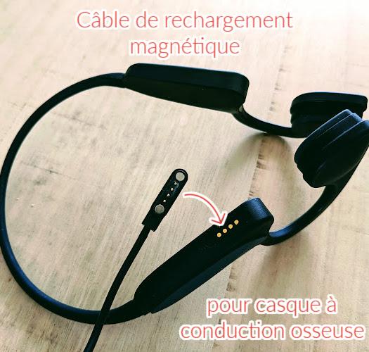 Cable de rechargement magnétique pour casque à conduction osseuse