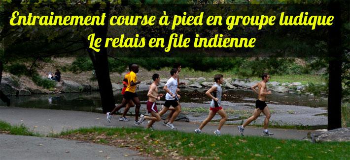 Entrainement course à pied en groupe ludique le relais en file indienne