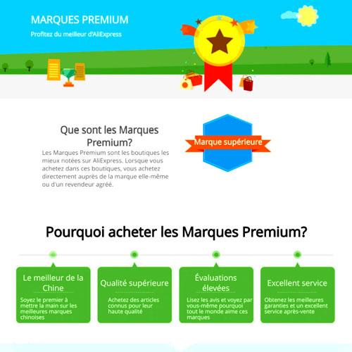 Marque premium et top brand sur Aliexpress