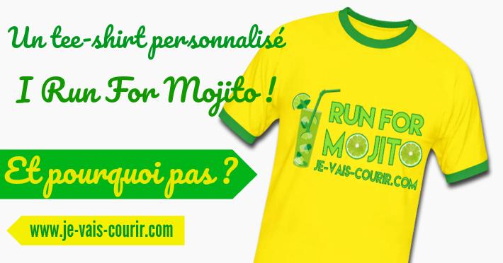 Un tee-shirt I run for mojito plein d'humour pour aller courir