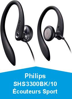 Philips SHS3300BK/10 Écouteurs Sport (son puissant, son Bass-Beat, tour d'oreille Flex Soft, ouvert, câble de 1,2 m) noir