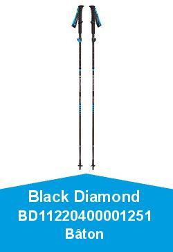 Black Diamond BD11220400001251 Bâton de randonnée Mixte Adulte, Noir, Taille 125