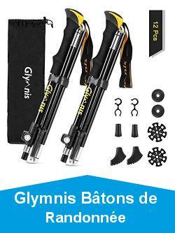 Glymnis Bâtons de Randonnée Bâtons de Marche en Aluminium 7075 Réglable de 36 à 130 cm et Fermeture par 4 Paires de Tampons en Caoutchouc pour Le Conditionnement du Trekking