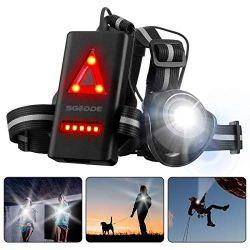 SGODDE Rechargeable USB LED Eclairage de Poitrine pour Course, Lampe Running 2 Modes 500LM Étanche avec Feux Rouge, Idéal pour Jogging, Promenade, Courir, Pêche, Escalade, Sports Extérieur (A)