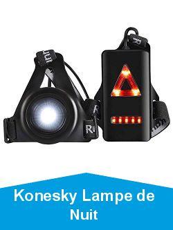 Konesky Lampe de Nuit en Cours d'exécution, Sport Extérieur étanche Charge USB Jogging Lumière de la Poitrine 3 Modes d'éclairage avec Bande de Fixation Amovible (1 Pack)