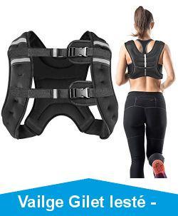 Vailge Gilet lesté - 2 kg/5 kg/10 kg - Gilet d'entraînement avec poids pour fitness, musculation, course, cross training - Noir - 5 kg