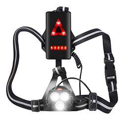 MOCOLI Rechargeable USB LED Eclairage de Poitrine pour Course,4 Modes 500LM Étanche avec Feux Rouge, Idéal pour Jogging, Promenade, Courir, Pêche, Escalade, Camping, Sports Extérieur