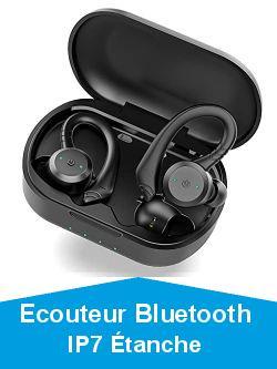 Ecouteur Bluetooth, Ecouteur sans Fil Sport Oreillette Bluetooth 5.1, IP7 Étanche, Écouteur Bluetooth HD Stéréo Basses avec Double Mic, CVC 8.0 Réduction du Bruit Casque, Crochets d'oreille Amovibles