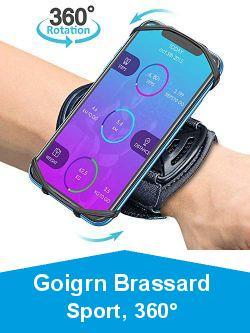 Goigrn Brassard Sport, 360° Rotation Universel Porte Téléphone Sport Compatible avec iPhone 12 Pro Max/12 Mini/12/11 Pro/XS Max/XR/XS/8 Plus, Samsung, Huawei etc, Brassard de Poignet avec Porte-Clés